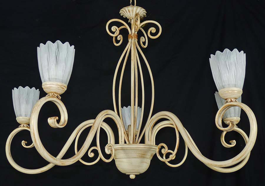 Shabby Chic Chandelier With 5 Lights In Ivory Wrought Iron Art 456